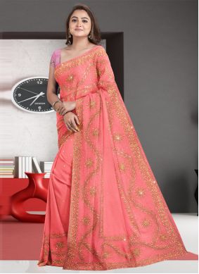 Peach Embroidered Engagement Traditional Designer Saree