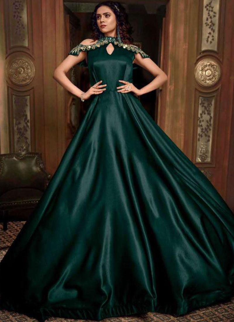 Embroidered Fancy Fabric Designer Gown in Green