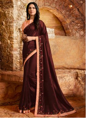 Embroidered Fancy Fabric Designer Saree in Maroon