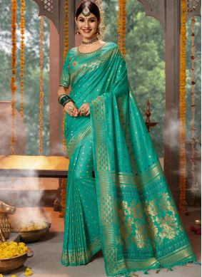 Embroidered Fancy Fabric Designer Traditional Saree in Blue