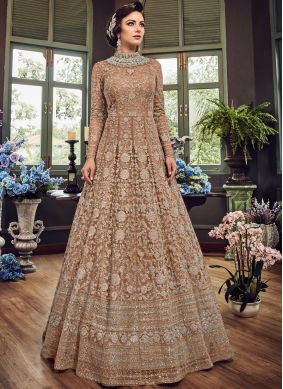 Embroidered Fancy Fabric Floor Length Anarkali Suit in Beige