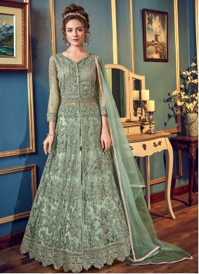 Embroidered Fancy Fabric Green Long Choli Lehenga