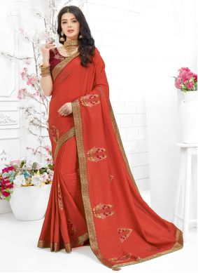 Embroidered Fancy Fabric Maroon Classic Saree