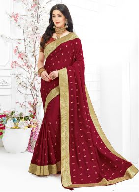 Embroidered Fancy Fabric Maroon Trendy Saree