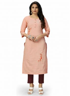 Peach Embroidered Fancy Fabric Party Wear Kurti
