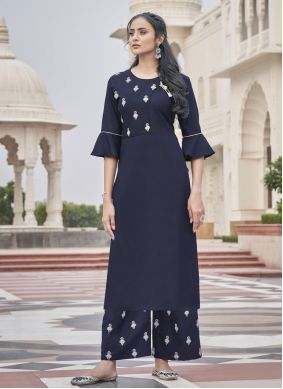 Blue Embroidered Fancy Fabric Party Wear Kurti