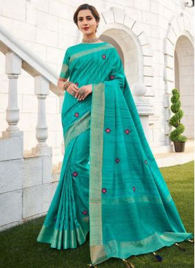 Embroidered Fancy Fabric Traditional Saree in Blue