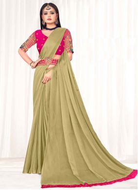 Beige Embroidered Faux Chiffon Classic Saree