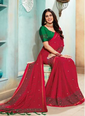 Embroidered Faux Chiffon Classic Saree in Red