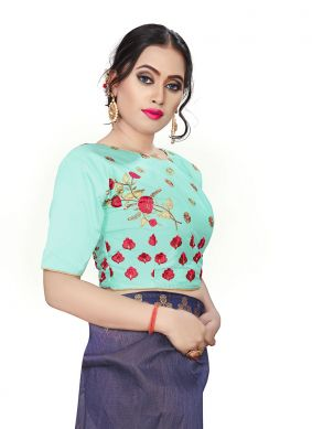 Embroidered Faux Chiffon Designer Blouse in Green