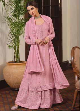 Embroidered Faux Chiffon Designer Palazzo Salwar Kameez in Pink