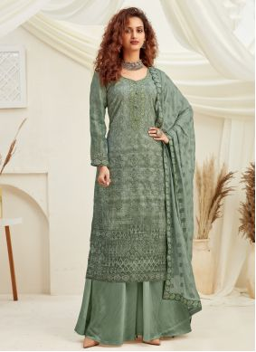 Embroidered Faux Chiffon Designer Palazzo Suit in Green
