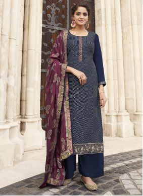 Embroidered Faux Chiffon Designer Palazzo Suit in Navy Blue