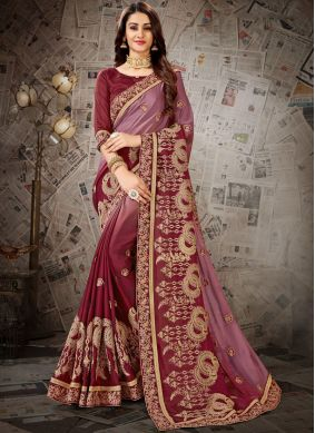 Embroidered Faux Chiffon Designer Saree in Maroon