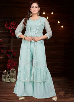Embroidered Faux Chiffon Party Wear Kurti
