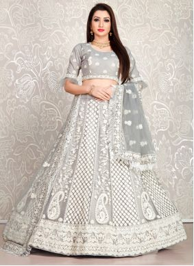 Embroidered Faux Crepe Designer Lehenga Choli