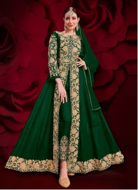 Embroidered Faux Georgette Anarkali Suit in Green
