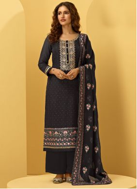 Embroidered Faux Georgette Black Designer Palazzo Suit