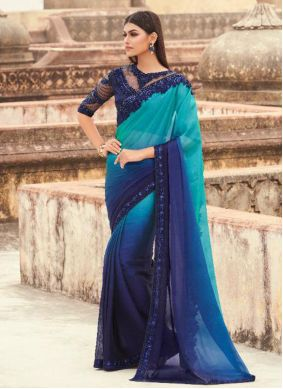 Embroidered Faux Georgette Blue Shaded Saree