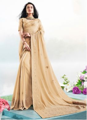 Embroidered Faux Georgette Brown Trendy Saree