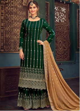 Embroidered Faux Georgette Designer Pakistani Salwar Suit in Green