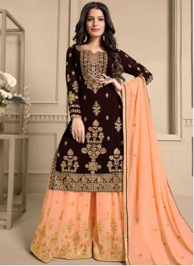 Embroidered Faux Georgette Designer Pakistani Suit in Brown and Peach
