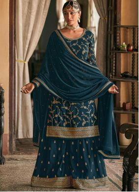 Embroidered Faux Georgette Designer Pakistani Suit in Teal