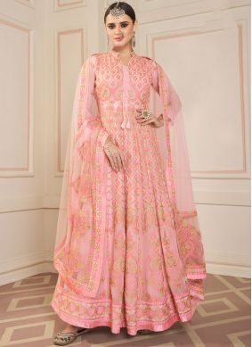 Embroidered Faux Georgette Floor Length Anarkali Suit in Rose Pink