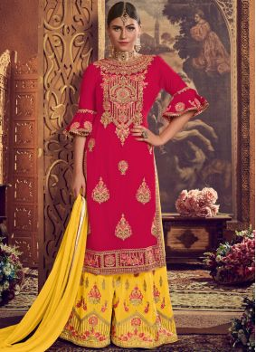 Embroidered Faux Georgette Palazzo Designer Suit in Pink