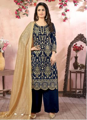 Embroidered Faux Georgette Palazzo Salwar Kameez in Navy Blue