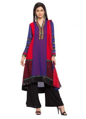 Embroidered Faux Georgette Purple Readymade Salwar Kameez