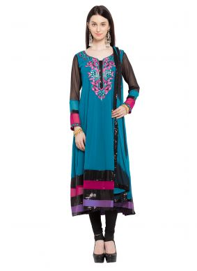 Embroidered Faux Georgette Readymade Anarkali Salwar Suit in Blue