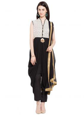 Embroidered Faux Georgette Readymade Salwar Kameez in Black