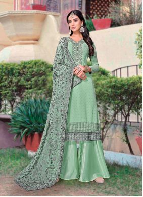 Embroidered Faux Georgette Sea Green Designer Palazzo Suit