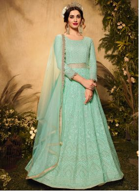 Embroidered Faux Georgette Sea Green Floor Length Designer Suit
