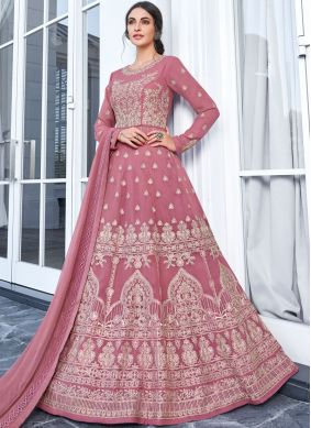Embroidered Faux Georgette Trendy Anarkali Salwar Suit in Pink