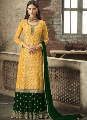Embroidered Faux Georgette Trendy Palazzo Salwar Suit in Mustard