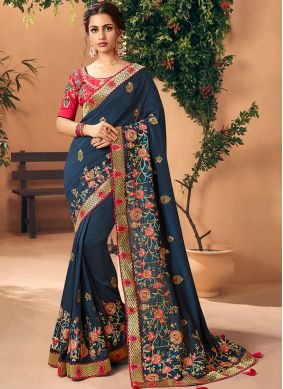 Embroidered Faux Georgette Trendy Saree in Navy Blue