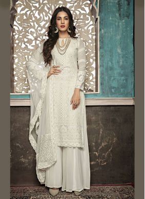 Embroidered Faux Georgette White Salwar Suit