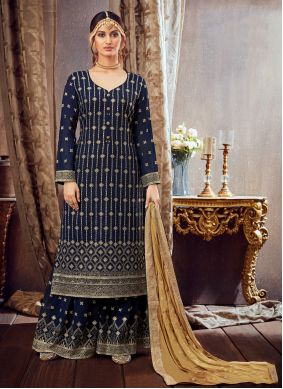 Blue Embroidered Festival Bollywood Salwar Kameez