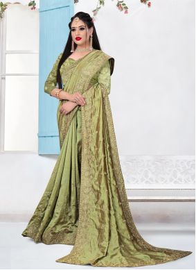Green Embroidered Festival Bollywood Saree