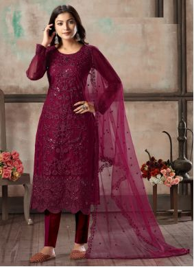 Magenta Embroidered Festival Churidar Designer Suit