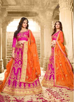 Embroidered Pink Festival Lehenga Choli