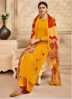 Embroidered Yellow Festival Salwar Kameez