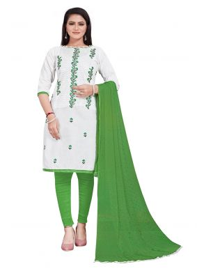 White Embroidered Festival Salwar Suit