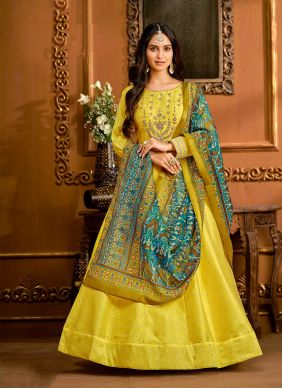Yellow Embroidered Floor Length Anarkali Suit