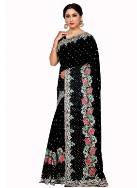 Embroidered Georgette Black Saree