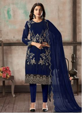 Embroidered Georgette Blue Pant Style Suit
