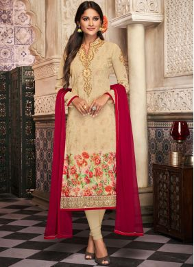 Embroidered Georgette Churidar Suit in Beige