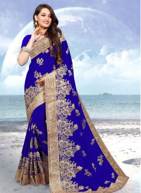 Embroidered Georgette Contemporary Saree in Blue